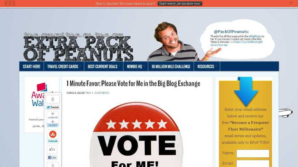 1 Minute Favor- Please Vote for Me in the Big Blog Exchange