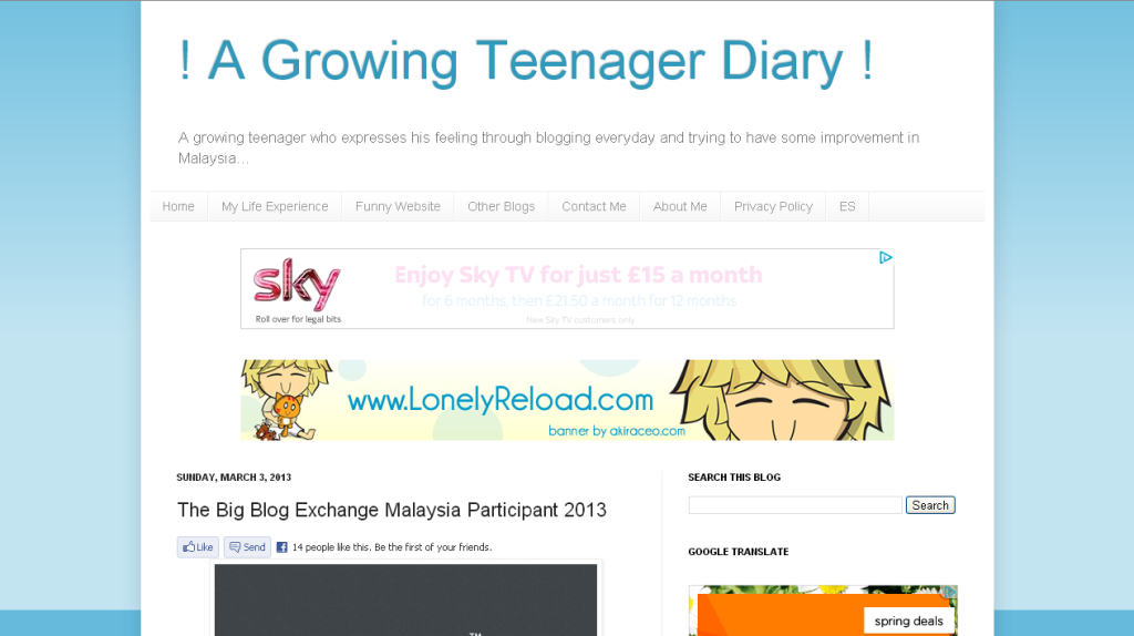 ! A Growing Teenager Diary !- The Big Blog Exchange Malaysia Participant 2013