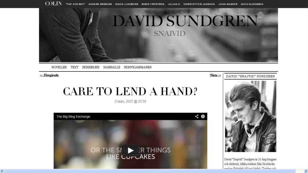 Care to lend a hand- - David Sundgren @ COLIN