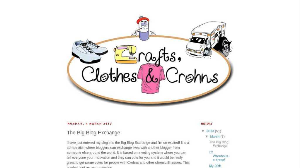 Craft, Clothes and Crohns- The Big Blog Exchange