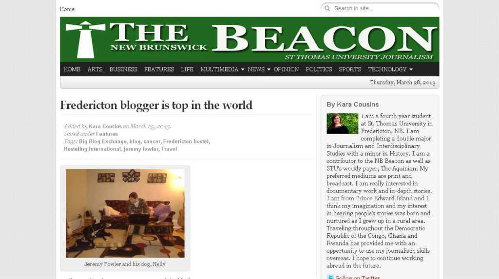 Fredericton blogger is top in the world - The New Brunswick Beacon