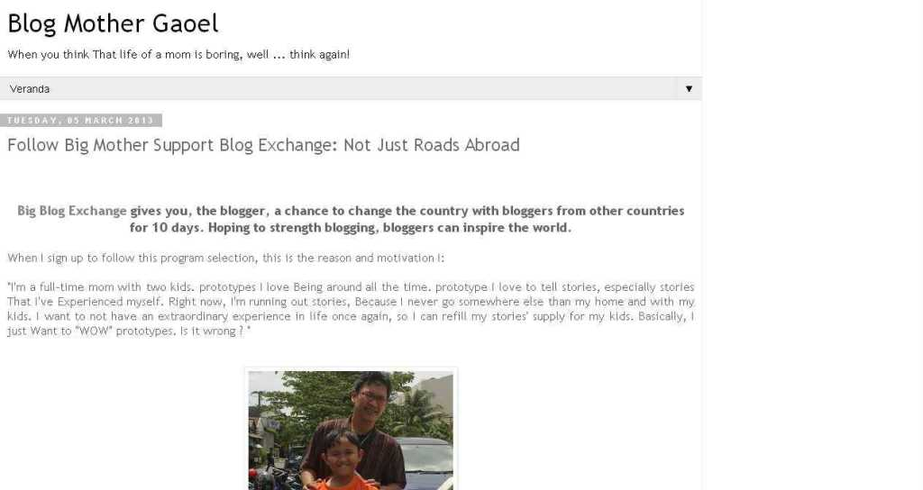 Mother Gaoel Blog- Follow Big Mother Support Blog Exchange- Not Just Roads Abroad