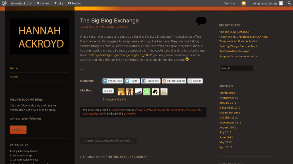 The Big Blog Exchange - hannahackroyd