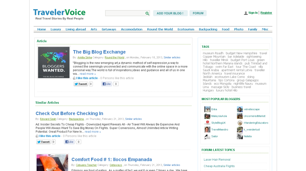 The Big Blog Exchange on TravelerVoice