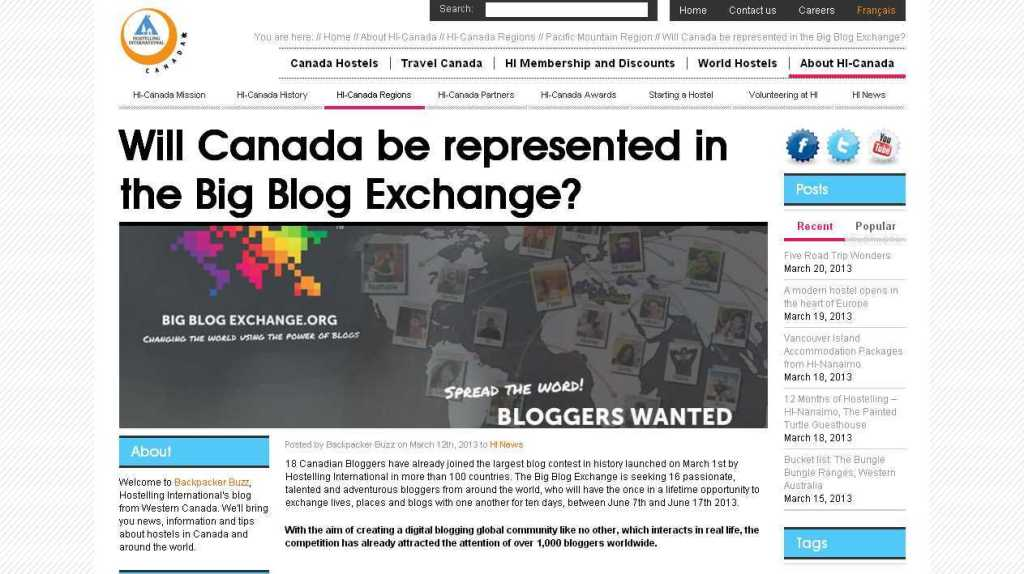 Will Canada be represented in the Big Blog Exchange- - HI-Canada - Pacific Mountain Region