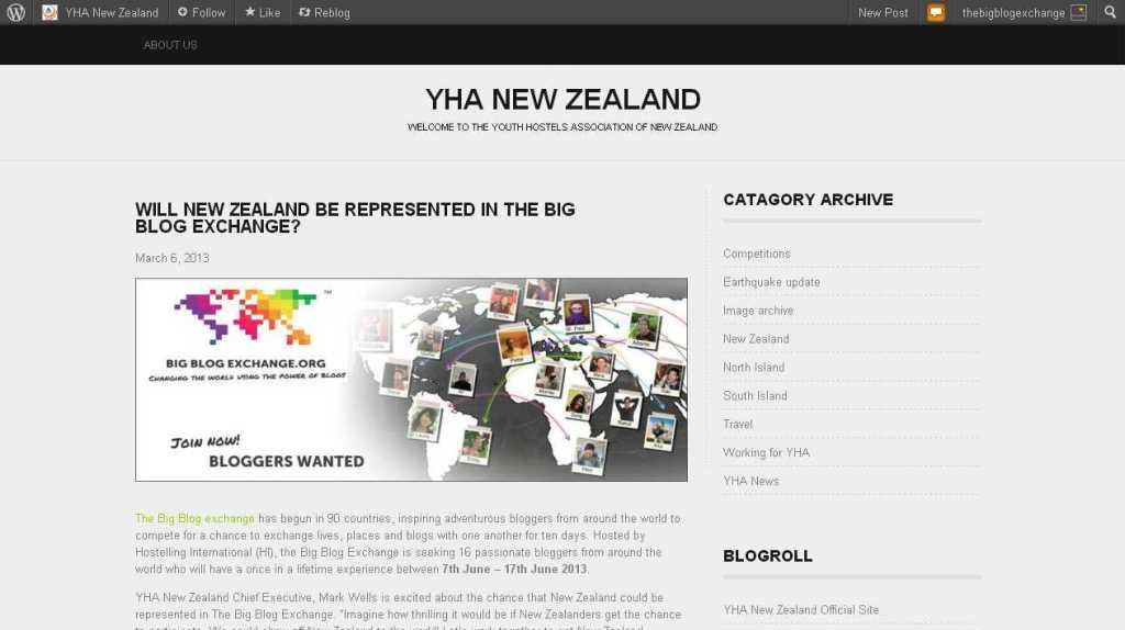Will New Zealand be represented in the Big Blog Exchange- - YHA New Zealand
