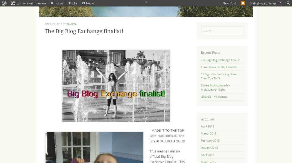 1The Big Blog Exchange finalist! - En route with Samara