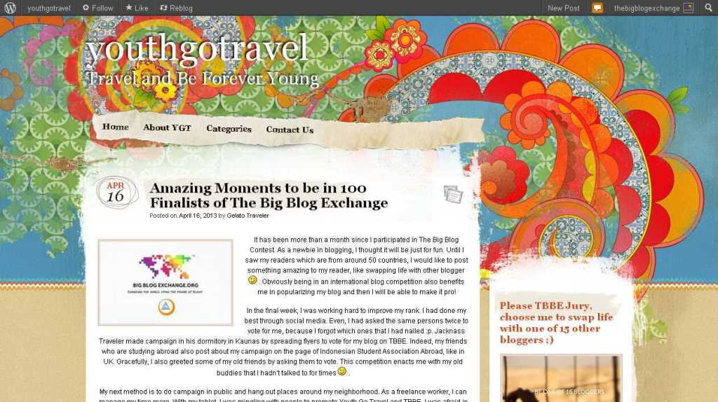 Amazing Moments to be in 100 Finalists of The Big Blog Exchange - youthgotravel