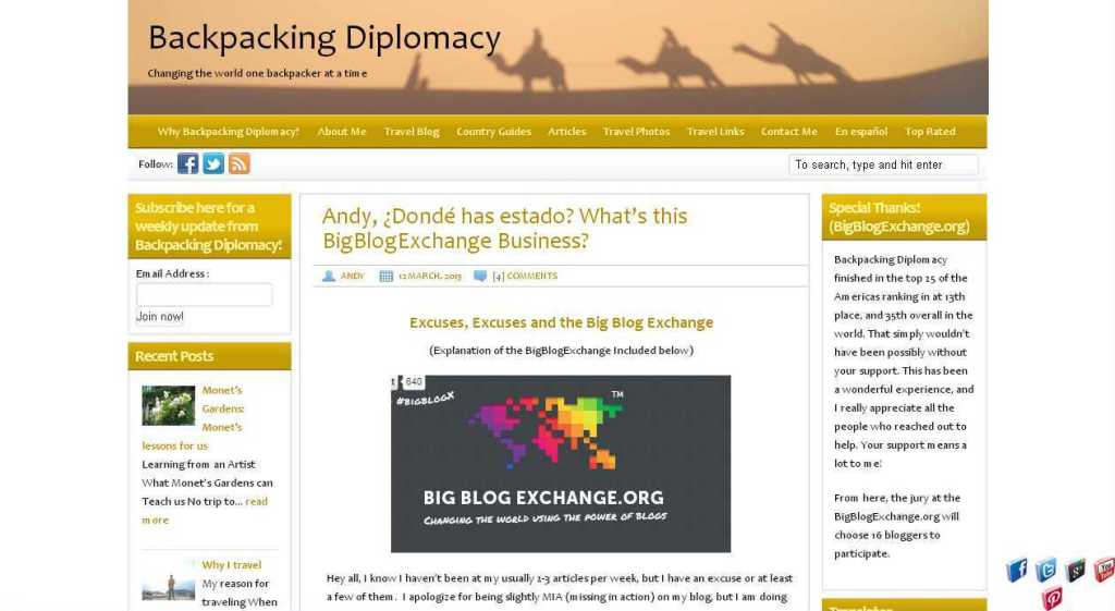 Andy, ¿Dondé has estado- What's this BigBlogExchange Business- - Backpacking Diplomacy