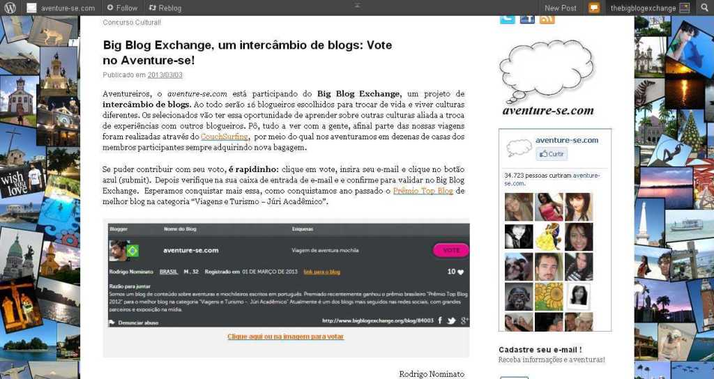 Big Blog Exchange, um intercâmbio de blogs- Vote no Aventure-se! - aventure-se.com