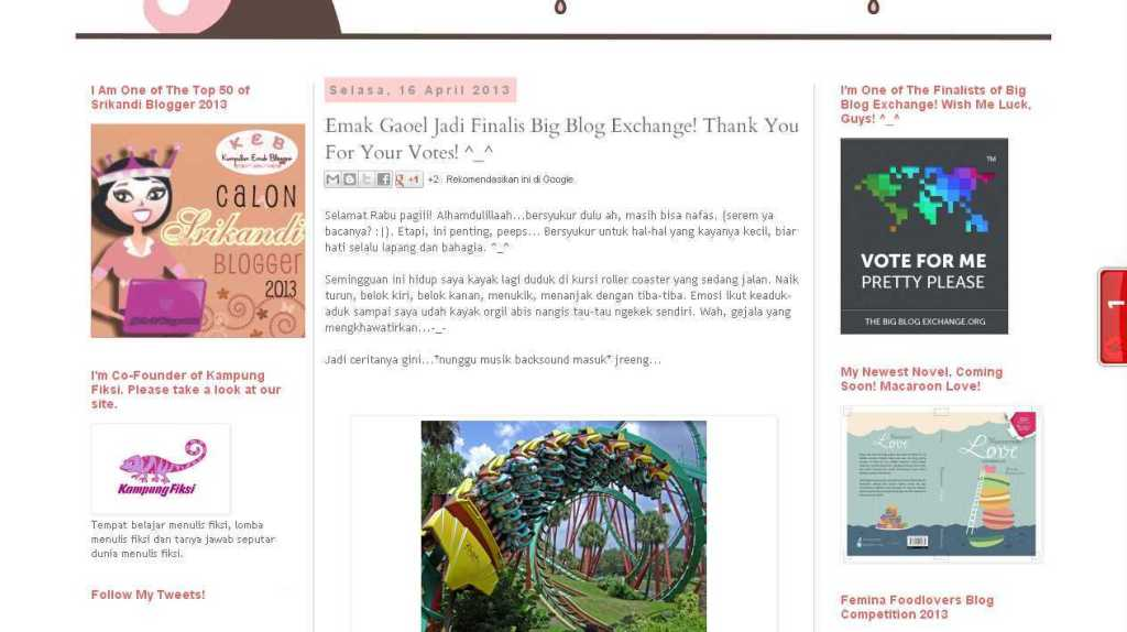 Blog Emak Gaoel- Emak Gaoel Jadi Finalis Big Blog Exchange! Thank You For Your Votes! ^_^