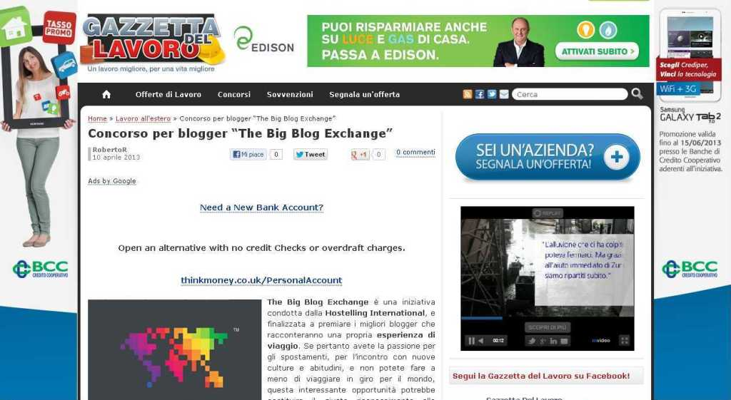 "Concorso per blogger ""The Big Blog Exchange"" - Gazzetta del lavoro"