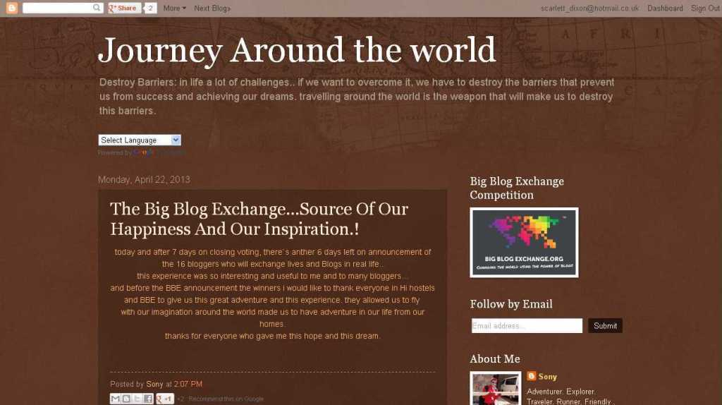 Journey Around the world- The Big Blog Exchange...Source Of Our Happiness And Our Inspiration.!