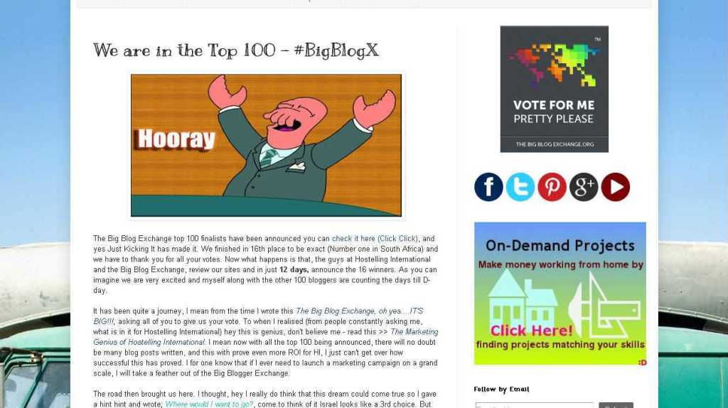 Just Kicking It- We are in the Top 100 - #BigBlogX