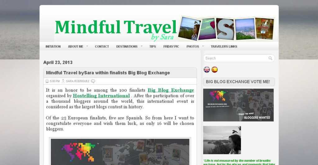 Mindful Travel bySara within finalists Big Blog Exchange ~ MindfulTravel bySara