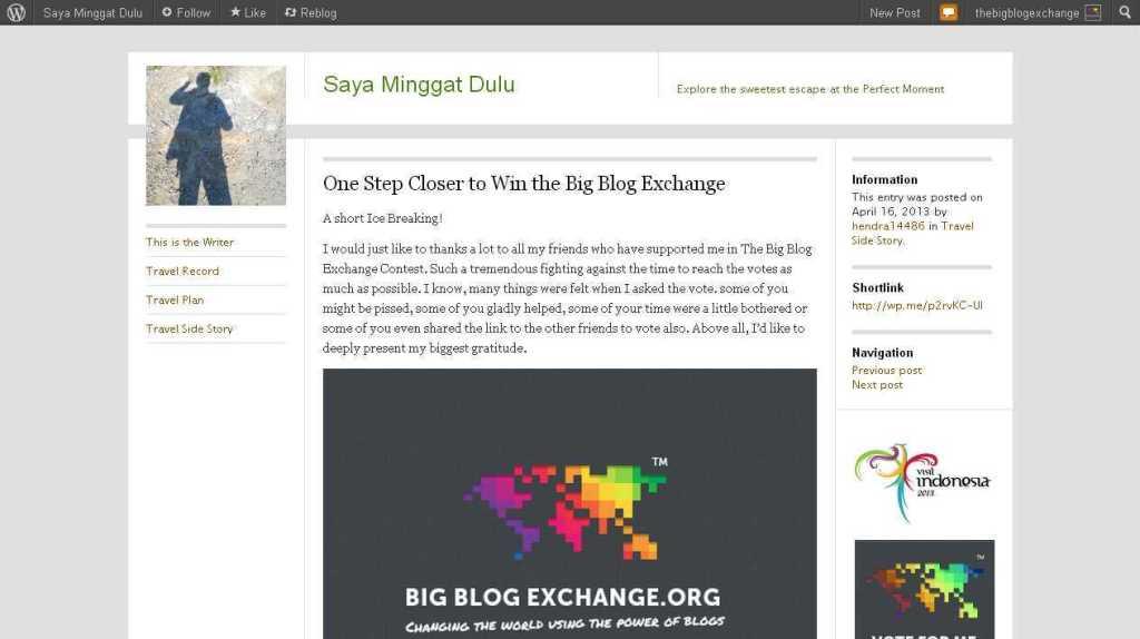 One Step Closer to Win the Big Blog Exchange - Saya Minggat Dulu