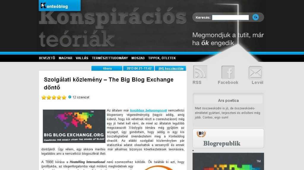 Szolgálati közlemény – The Big Blog Exchange dönto « Konteó