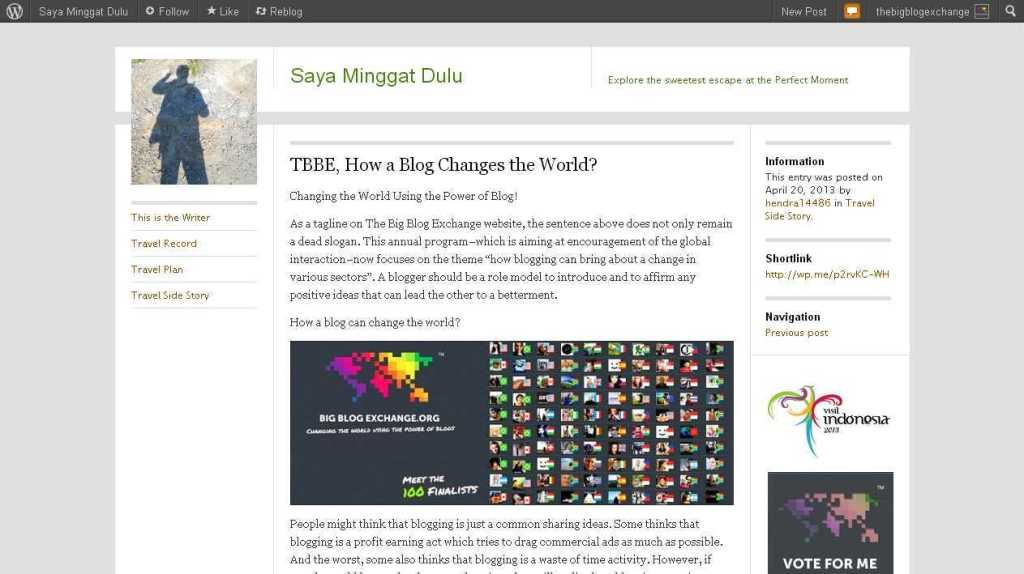 TBBE, How a Blog Changes the World- - Saya Minggat Dulu