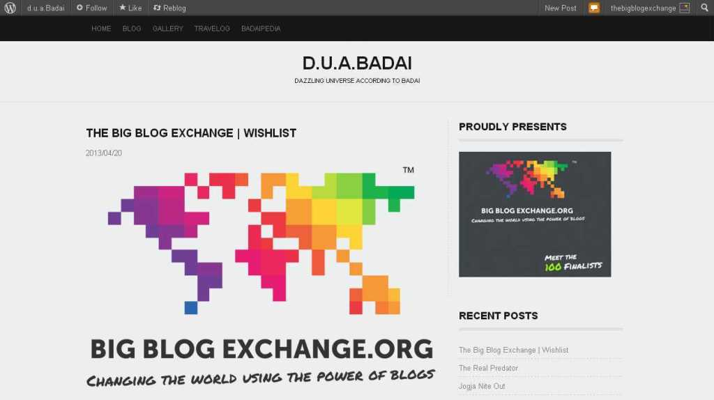 The Big Blog Exchange - Wishlist - d.u.a.Badai
