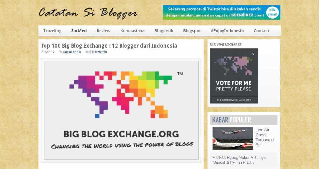 Top 100 Big Blog Exchange - 12 Blogger dari Indonesia - Harrismaul.com