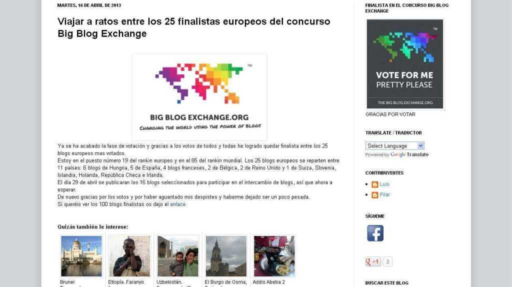 viajar a ratos- Viajar a ratos entre los 25 finalistas europeos del concurso Big Blog Exchange