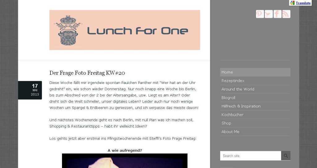 Lunch For One - Essen, Backen und around the world