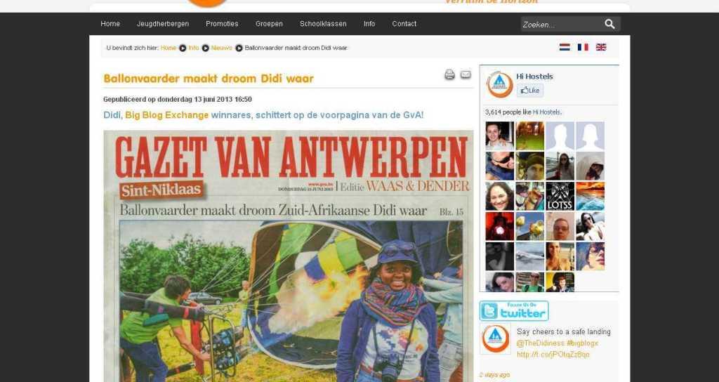 Ballonvaarder maakt droom Didi waar - Jeugdherbergen in Vlaanderen en Brussel
