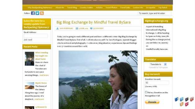 Big Blog Exchange by Mindful Travel BySara - Backpacking Diplomacy