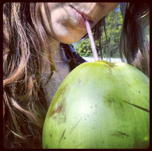 drinking coco aqua
