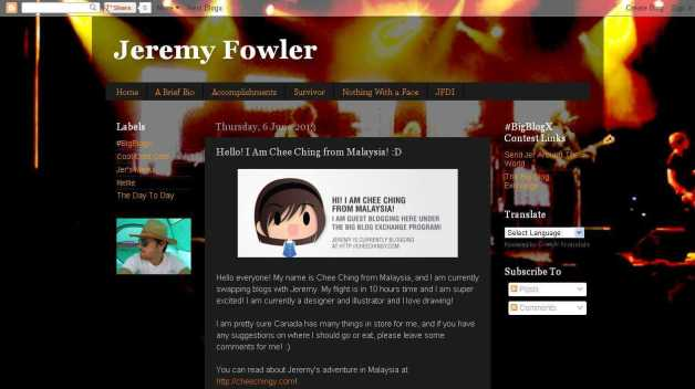 Jeremy Fowler- Hello! I Am Chee Ching from Malaysia! -D
