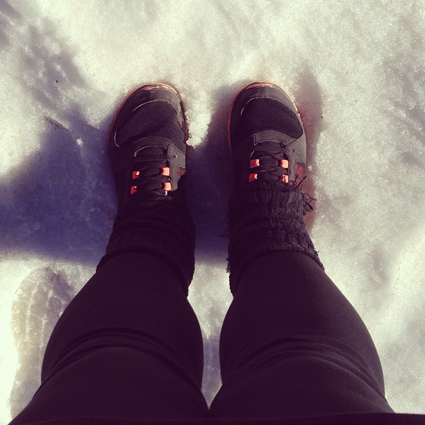 Yesterday summer shoes. Today snow and leg warmers. #altamontana