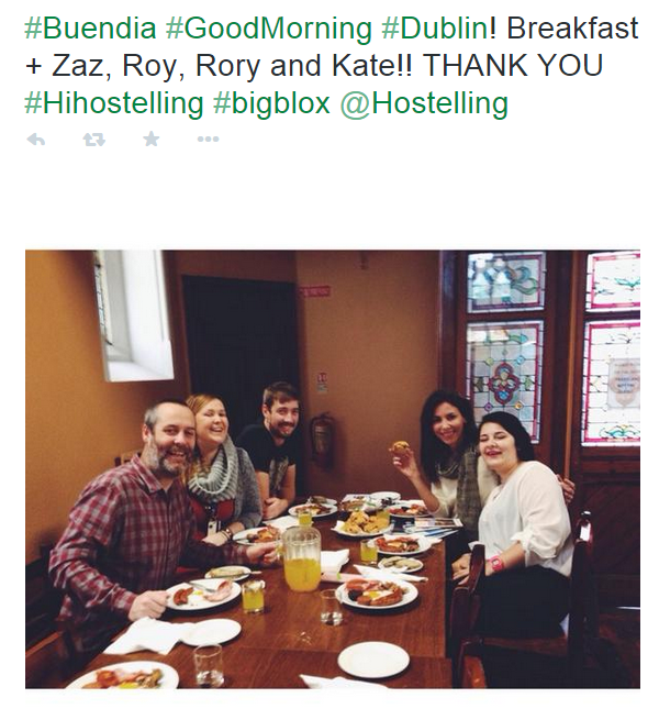 Breakfast with Zaz and the team in Ireland - twitter text version